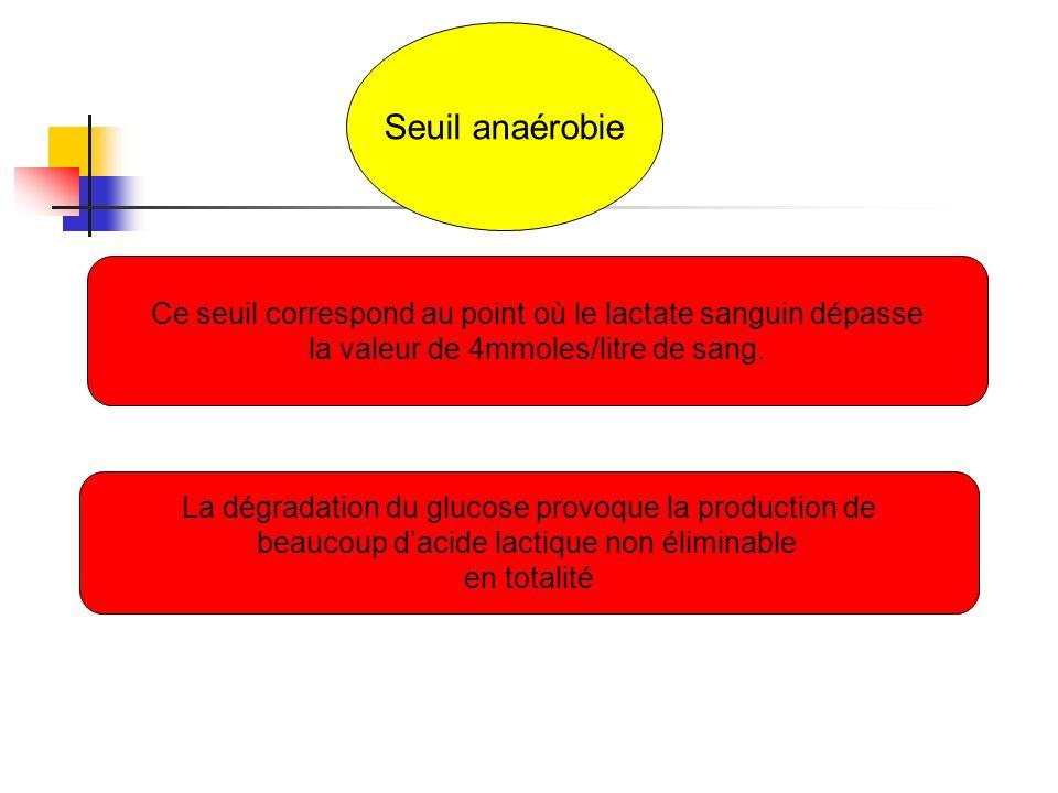 Seuil anaérobie Ce seuil correspond au point où le lactate sanguin dépasse la valeur de 4mmoles/litre de sang. La dégradation du glucose provoque la p