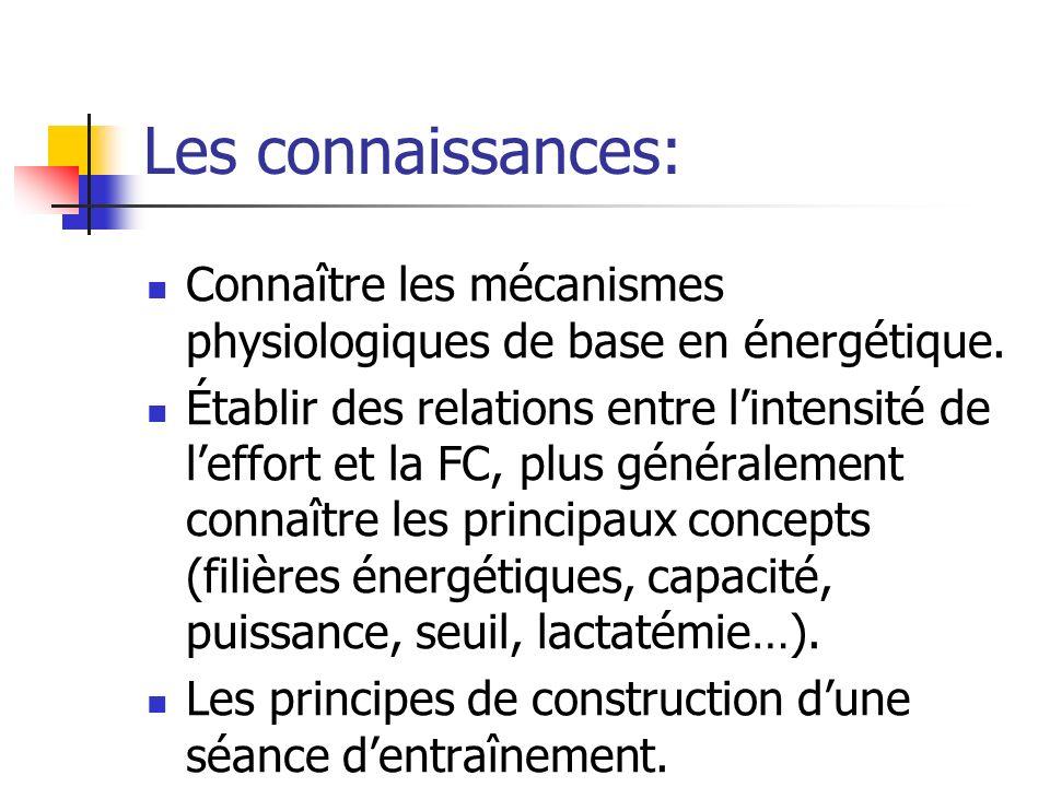 Les connaissances: Connaître les mécanismes physiologiques de base en énergétique. Établir des relations entre lintensité de leffort et la FC, plus gé