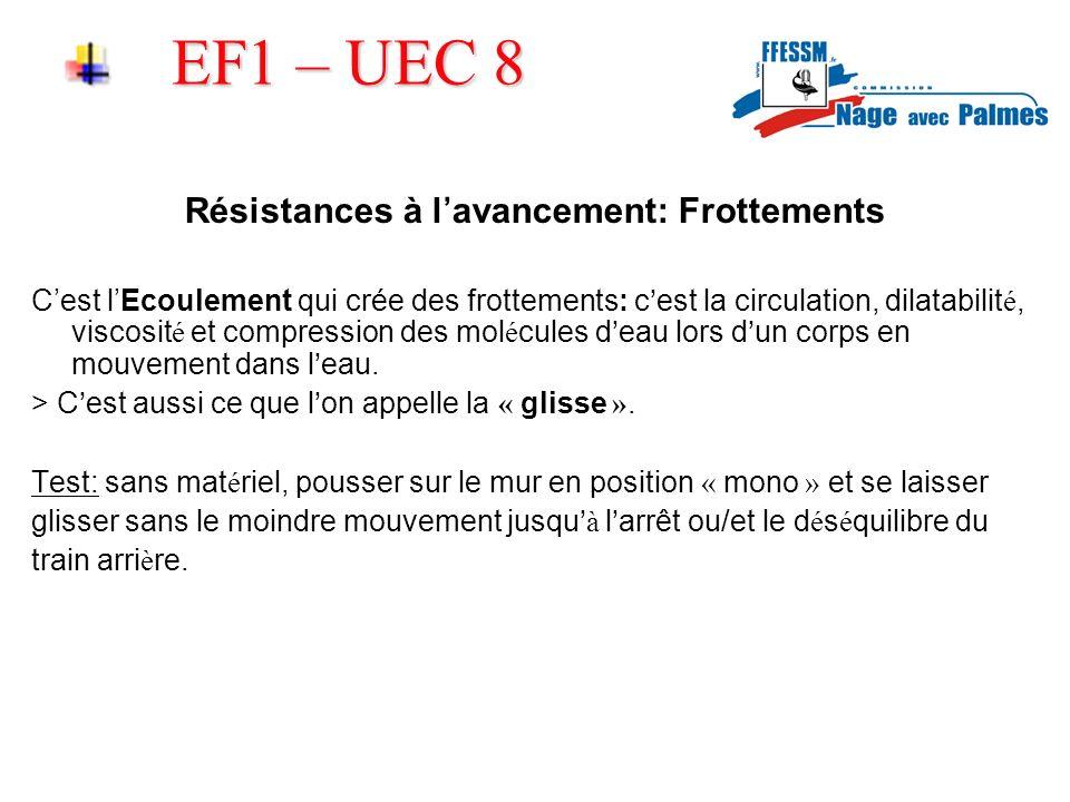 EF1 – UEC 8 Résistances à lavancement: Frottements Cest lEcoulement qui crée des frottements: c est la circulation, dilatabilit é, viscosit é et compr