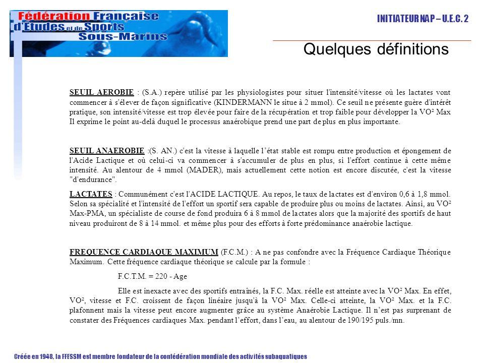 INITIATEUR NAP – U.E.C. 2 Créée en 1948, la FFESSM est membre fondateur de la confédération mondiale des activités subaquatiques Quelques définitions