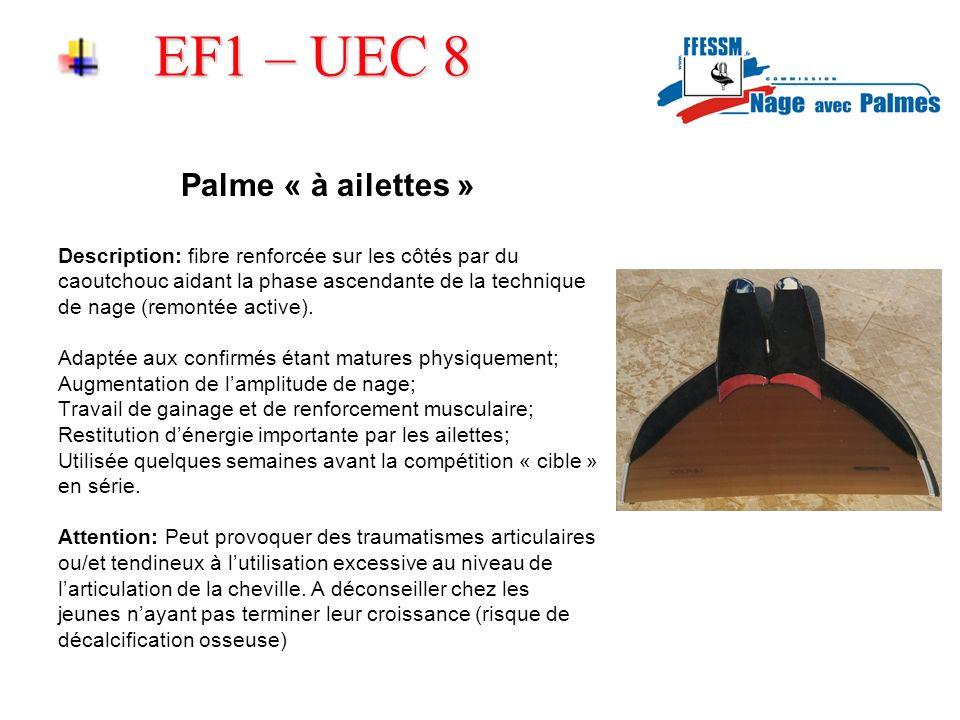 EF1 – UEC 8 Palme « à ailettes » Description: fibre renforcée sur les côtés par du caoutchouc aidant la phase ascendante de la technique de nage (remontée active).