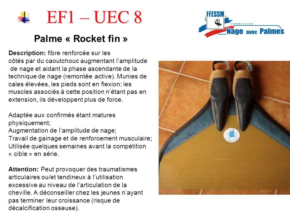 EF1 – UEC 8 Palme « Rocket fin » Description: fibre renforcée sur les côtés par du caoutchouc augmentant lamplitude de nage et aidant la phase ascendante de la technique de nage (remontée active).