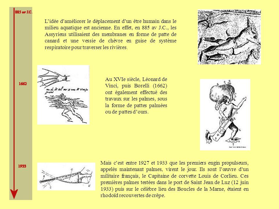Lidée daméliorer le déplacement dun être humain dans le milieu aquatique est ancienne.