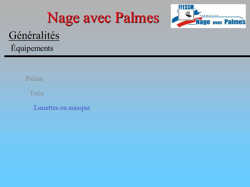 Palme Tuba Lunettes ou masque Nage avec Palmes Généralités Équipements
