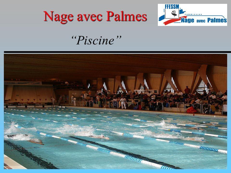 Nage avec Palmes Particularités compétitions piscine Épreuves Les épreuves qui peuvent faire partie du programme des Championnats de France Juniors, Seniors, sont les suivantes : Surface : 50 m, 100 m, 200 m, 400 m, 800 m, 1500 m, 1850 m et Relais 4 X 100 m, 4 X 200 m 1850 m (mille marin) au niveau régional seulement Immersion avec scaphandre : 100 m, 400 m, 800 m.