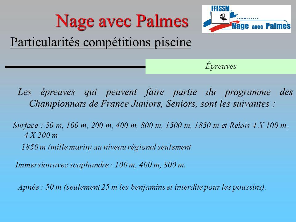 Nage avec Palmes Particularités compétitions piscine Épreuves Les épreuves qui peuvent faire partie du programme des Championnats de France Juniors, S