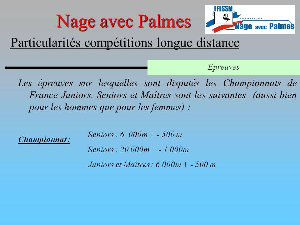 Les épreuves sur lesquelles sont disputés les Championnats de France Juniors, Seniors et Maîtres sont les suivantes (aussi bien pour les hommes que po