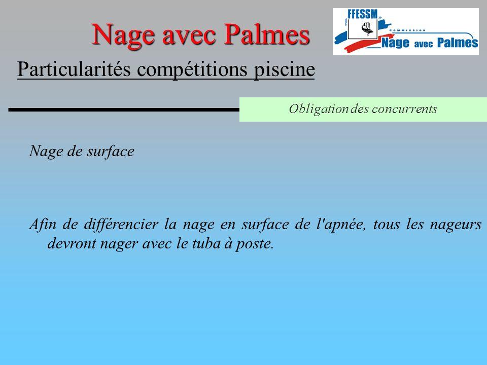 Nage de surface Nage avec Palmes Particularités compétitions piscine Obligation des concurrents Afin de différencier la nage en surface de l'apnée, to