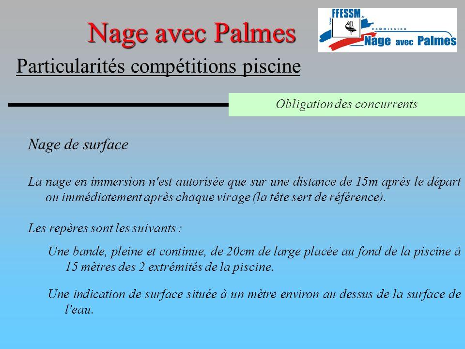 Nage de surface Nage avec Palmes Particularités compétitions piscine Obligation des concurrents La nage en immersion n'est autorisée que sur une dista