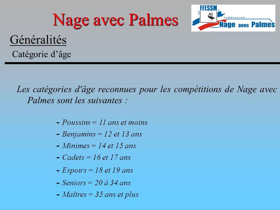 Généralités Catégorie dâge Les catégories d'âge reconnues pour les compétitions de Nage avec Palmes sont les suivantes : - Poussins = 11 ans et moins