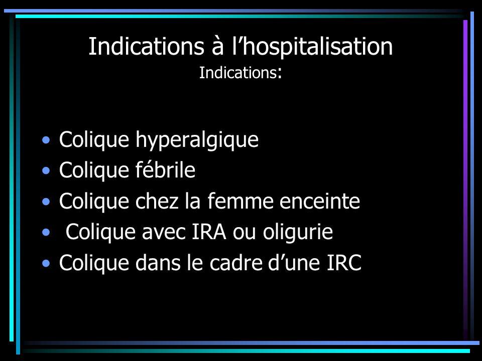 Indications à lhospitalisation Indications : Colique hyperalgique Colique fébrile Colique chez la femme enceinte Colique avec IRA ou oligurie Colique