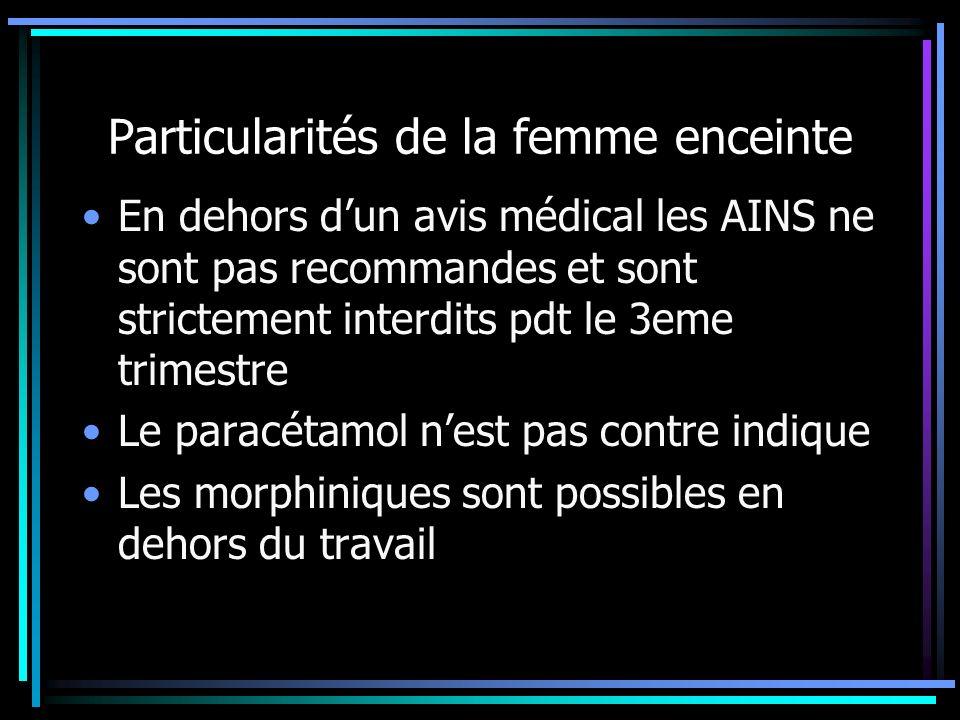 Particularités de la femme enceinte En dehors dun avis médical les AINS ne sont pas recommandes et sont strictement interdits pdt le 3eme trimestre Le