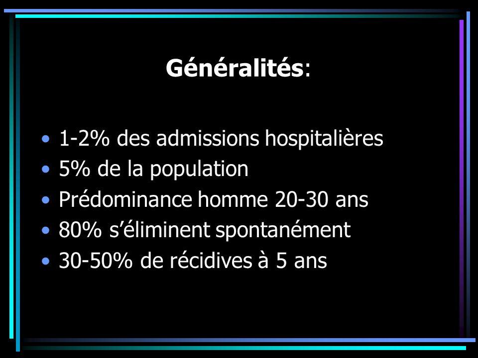 Généralités: 1-2% des admissions hospitalières 5% de la population Prédominance homme 20-30 ans 80% séliminent spontanément 30-50% de récidives à 5 an