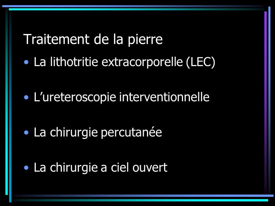 Traitement de la pierre La lithotritie extracorporelle (LEC) Lureteroscopie interventionnelle La chirurgie percutanée La chirurgie a ciel ouvert