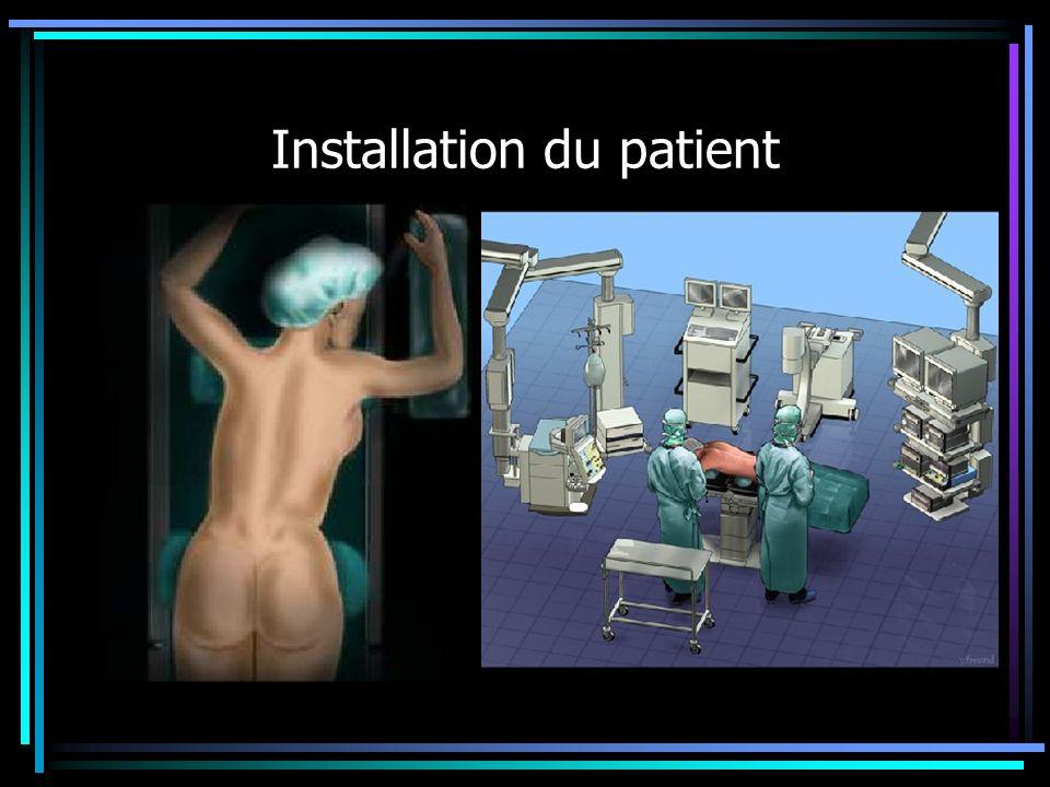 Installation du patient Personnel protége par des tabliers de plomb Ponction du rein sous contrôle radio Mise en place dune nephrostomie Dilatation du