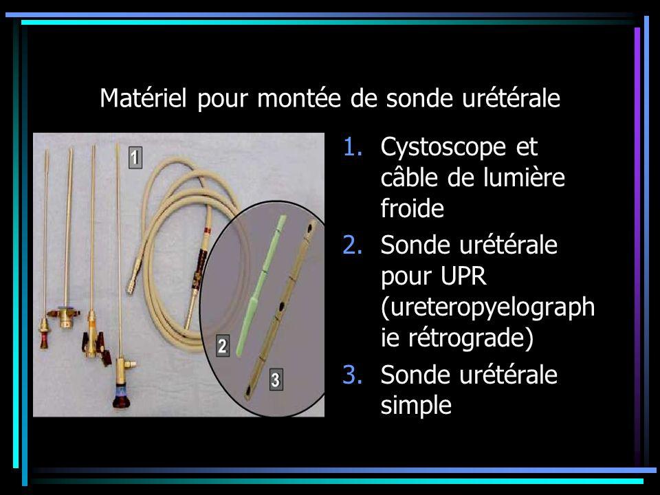 Matériel pour montée de sonde urétérale 1.Cystoscope et câble de lumière froide 2.Sonde urétérale pour UPR (ureteropyelograph ie rétrograde) 3.Sonde u