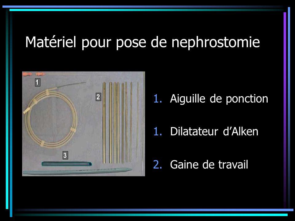 Matériel pour pose de nephrostomie 1.Aiguille de ponction 1.Dilatateur dAlken 2.Gaine de travail