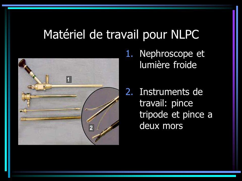 Matériel de travail pour NLPC 1.Nephroscope et lumière froide 2.Instruments de travail: pince tripode et pince a deux mors