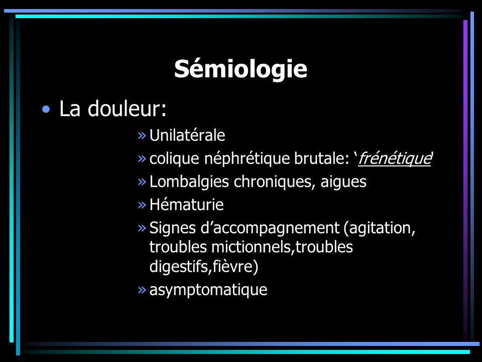 Sémiologie La douleur: »Unilatérale »colique néphrétique brutale: frénétique' »Lombalgies chroniques, aigues »Hématurie »Signes daccompagnement (agita