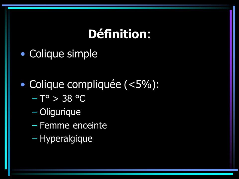 Définition: Colique simple Colique compliquée (<5%): –T° > 38 °C –Oligurique –Femme enceinte –Hyperalgique