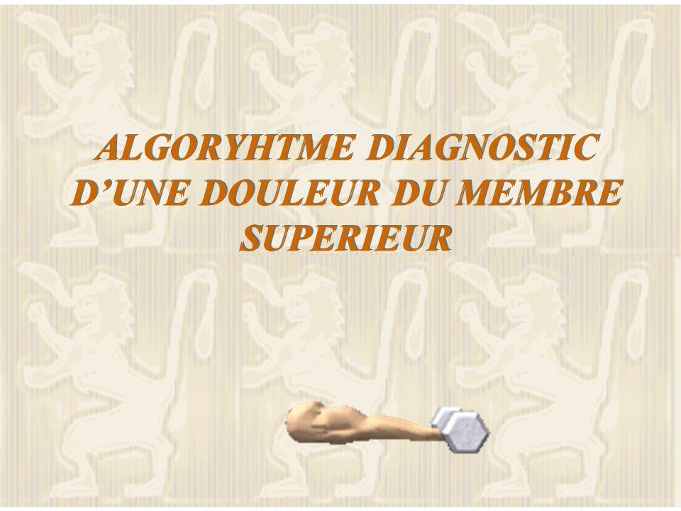 ALGORYHTME DIAGNOSTIC DUNE DOULEUR DU MEMBRE SUPERIEUR