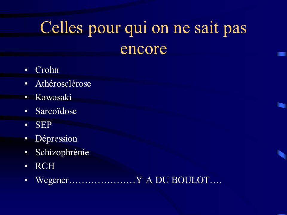 Celles pour qui on ne sait pas encore Crohn Athérosclérose Kawasaki Sarcoïdose SEP Dépression Schizophrénie RCH Wegener…………………Y A DU BOULOT….