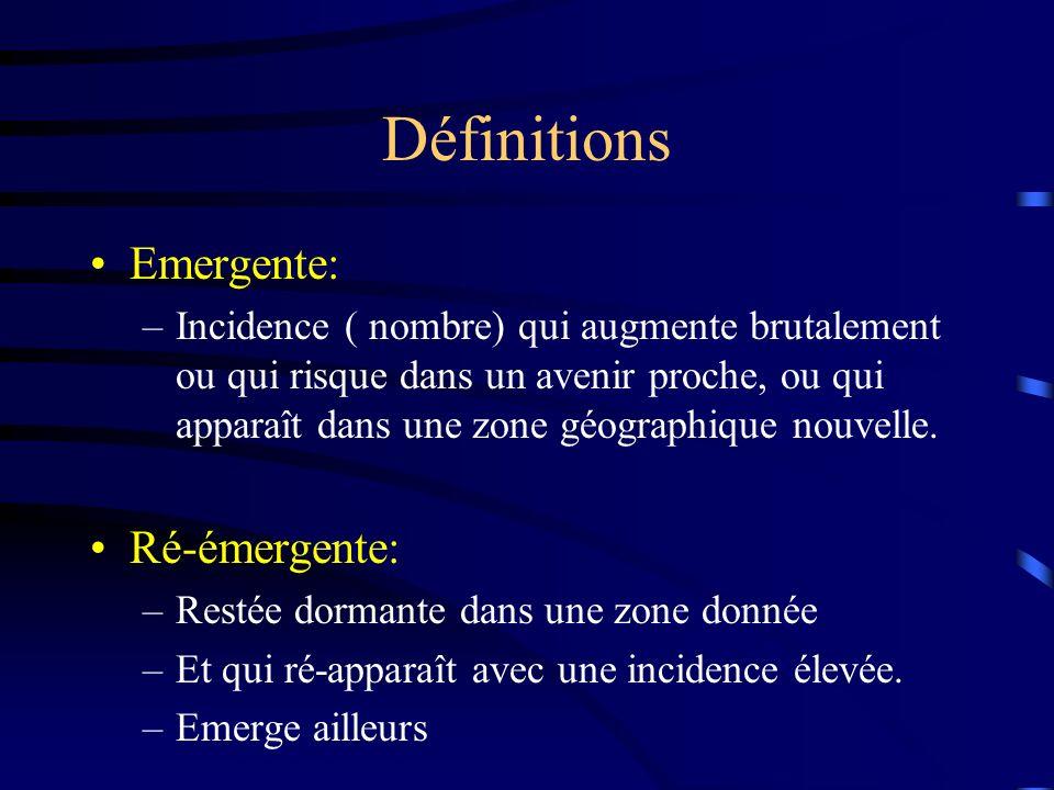 Définitions Emergente: –Incidence ( nombre) qui augmente brutalement ou qui risque dans un avenir proche, ou qui apparaît dans une zone géographique nouvelle.