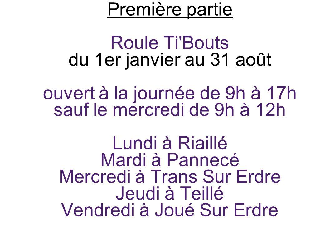Première partie Roule Ti'Bouts du 1er janvier au 31 août ouvert à la journée de 9h à 17h sauf le mercredi de 9h à 12h Lundi à Riaillé Mardi à Pannecé