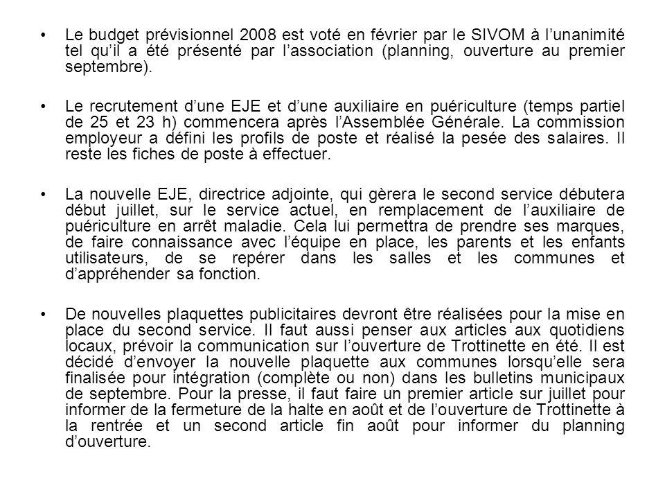 Le budget prévisionnel 2008 est voté en février par le SIVOM à lunanimité tel quil a été présenté par lassociation (planning, ouverture au premier sep