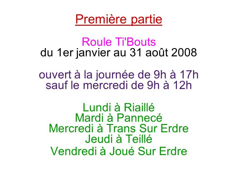 Première partie Roule Ti'Bouts du 1er janvier au 31 août 2008 ouvert à la journée de 9h à 17h sauf le mercredi de 9h à 12h Lundi à Riaillé Mardi à Pan