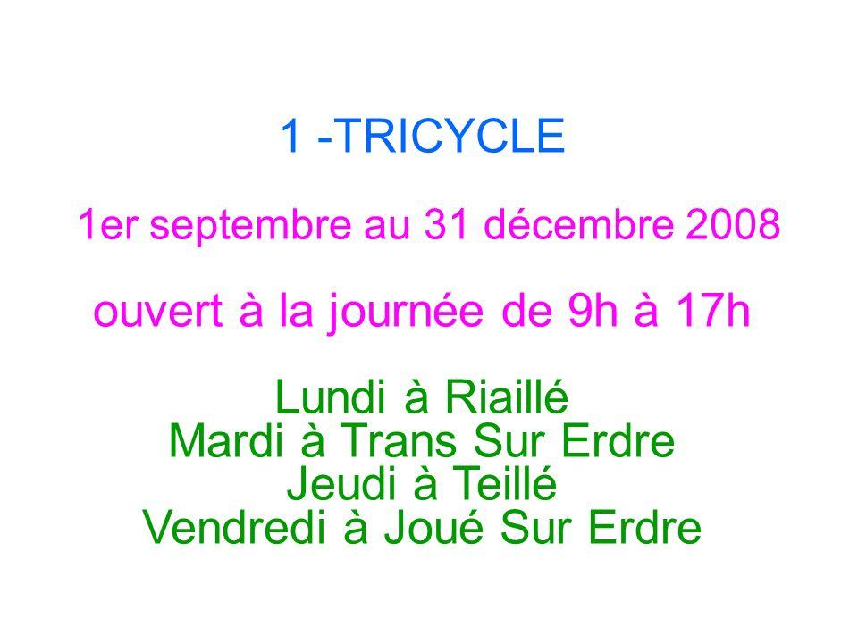 1 -TRICYCLE 1er septembre au 31 décembre 2008 ouvert à la journée de 9h à 17h Lundi à Riaillé Mardi à Trans Sur Erdre Jeudi à Teillé Vendredi à Joué S