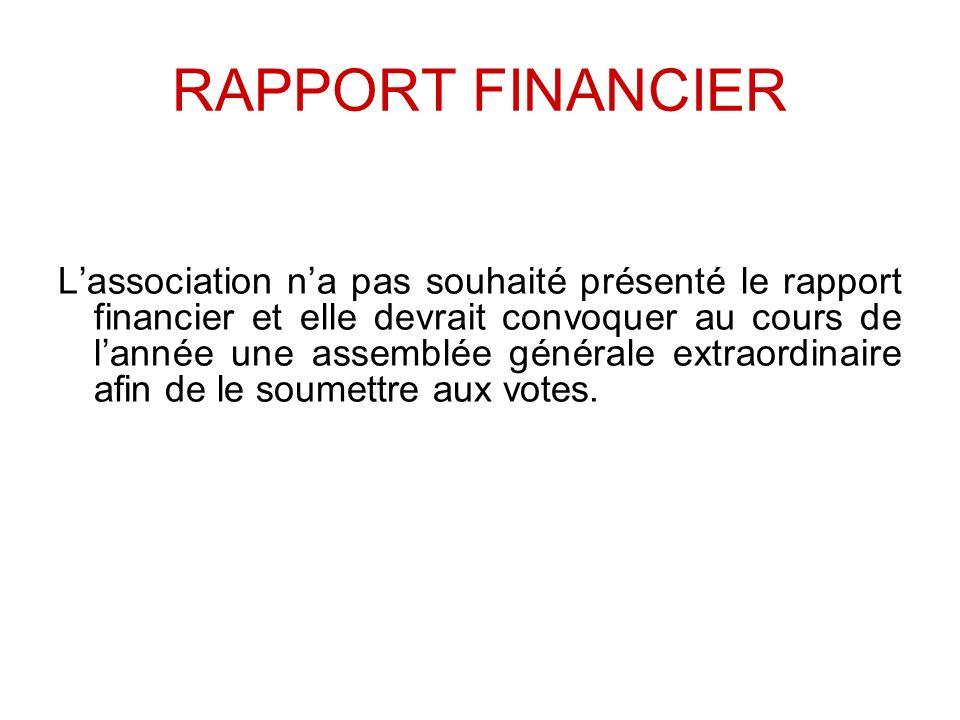 RAPPORT FINANCIER Lassociation na pas souhaité présenté le rapport financier et elle devrait convoquer au cours de lannée une assemblée générale extra