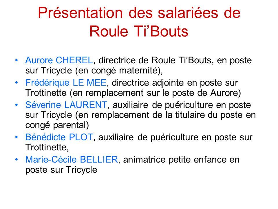 Présentation des salariées de Roule TiBouts Aurore CHEREL, directrice de Roule TiBouts, en poste sur Tricycle (en congé maternité), Frédérique LE MEE,