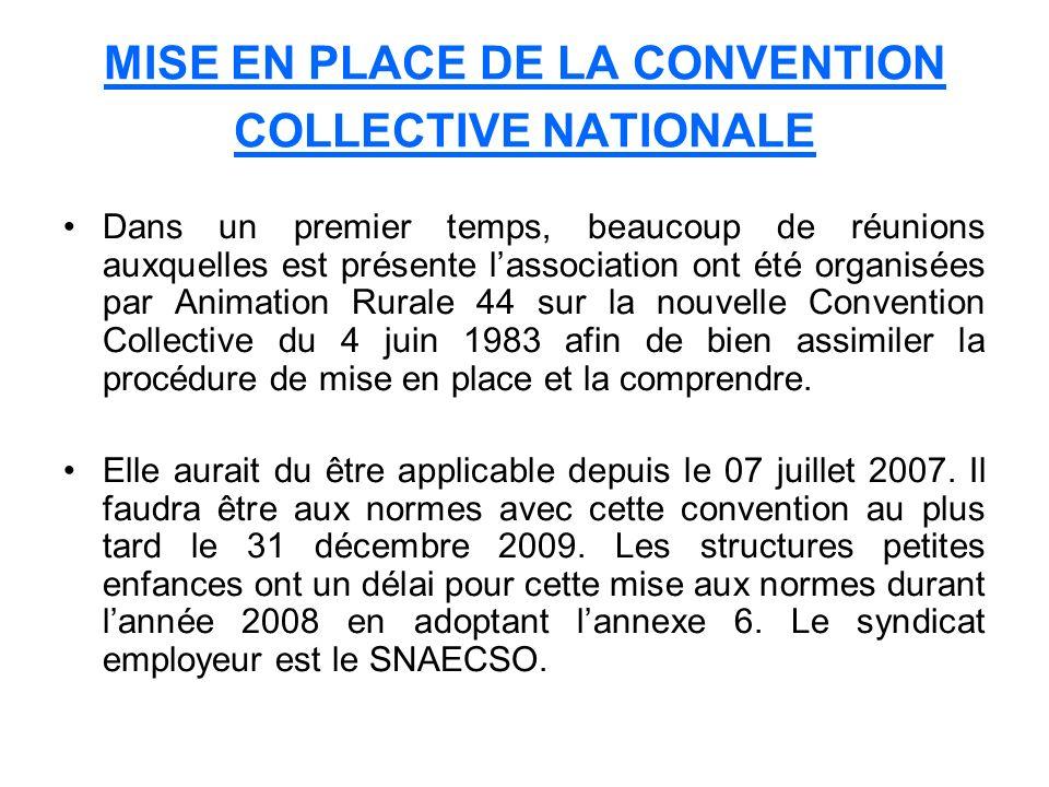 MISE EN PLACE DE LA CONVENTION COLLECTIVE NATIONALE Dans un premier temps, beaucoup de réunions auxquelles est présente lassociation ont été organisée