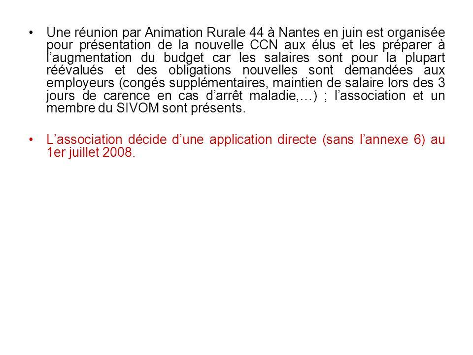 Une réunion par Animation Rurale 44 à Nantes en juin est organisée pour présentation de la nouvelle CCN aux élus et les préparer à laugmentation du bu