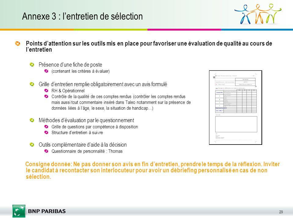 29 Annexe 3 : lentretien de sélection Points dattention sur les outils mis en place pour favoriser une évaluation de qualité au cours de lentretien Pr