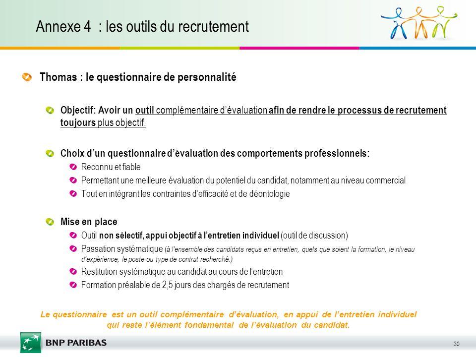 30 Annexe 4 : les outils du recrutement Thomas : le questionnaire de personnalité Objectif: Avoir un outil complémentaire dévaluation afin de rendre l