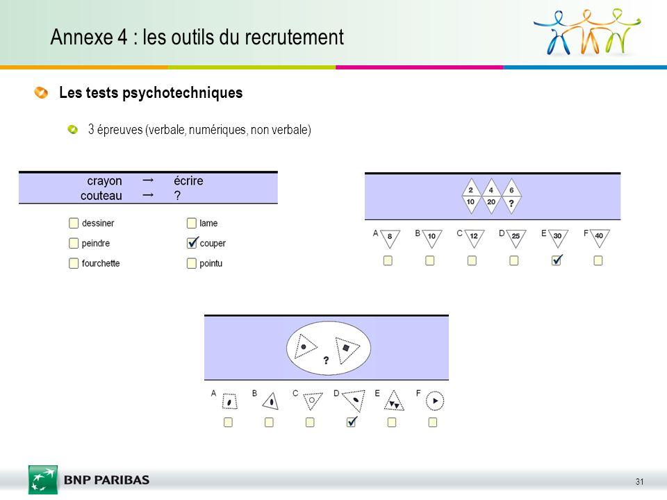 31 Annexe 4 : les outils du recrutement Les tests psychotechniques 3 épreuves (verbale, numériques, non verbale)