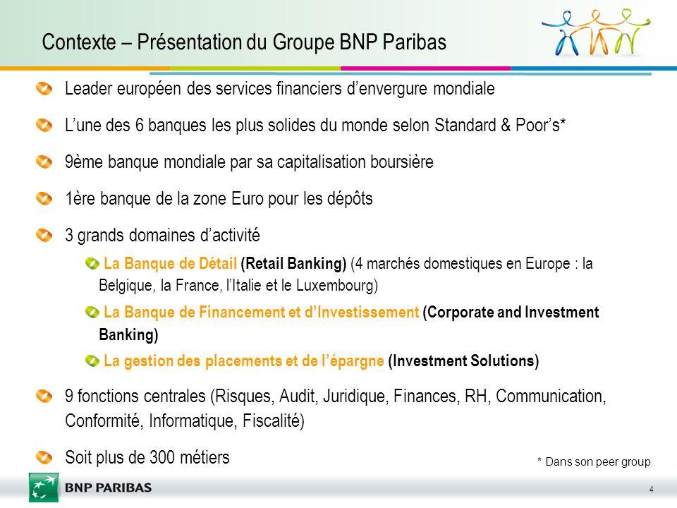 4 Contexte – Présentation du Groupe BNP Paribas Leader européen des services financiers denvergure mondiale Lune des 6 banques les plus solides du mon