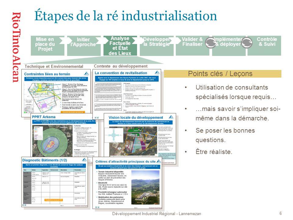 Développement Industriel Régional - Lannemezan 7 Étapes de la ré industrialisation Partenariat avec les acteurs locaux.