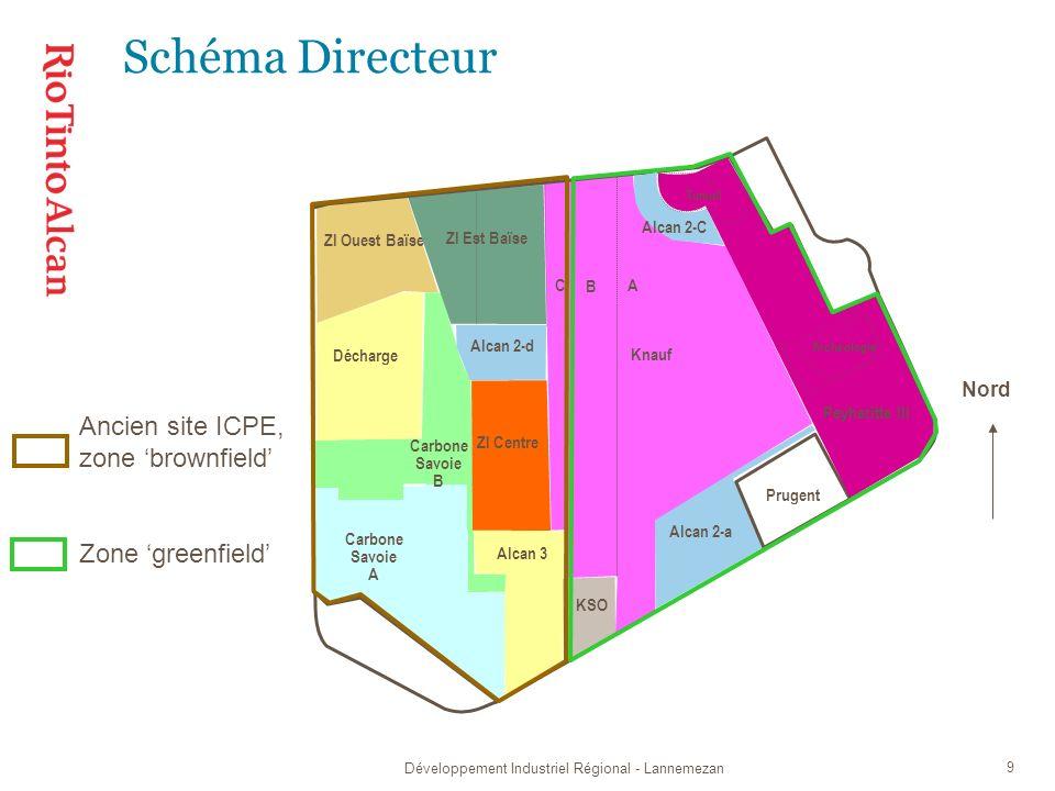 Développement Industriel Régional - Lannemezan 9 Schéma Directeur Nord Carbone Savoie A ZI Ouest Baïse Décharge Alcan 3 Alcan 2-a Knauf A B C KSO ZI Est Baïse Alcan 2-C Peyheritte III Tumuli Archéologie ZI Centre Alcan 2-d Carbone Savoie B Ancien site ICPE, zone brownfield Zone greenfield Prugent