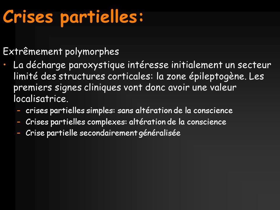 Crises partielles: Extrêmement polymorphes La décharge paroxystique intéresse initialement un secteur limité des structures corticales: la zone épilep