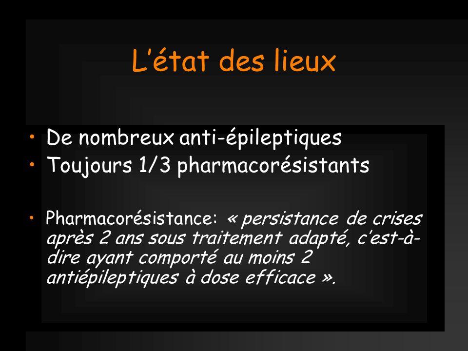 Létat des lieux De nombreux anti-épileptiques Toujours 1/3 pharmacorésistants Pharmacorésistance: « persistance de crises après 2 ans sous traitement