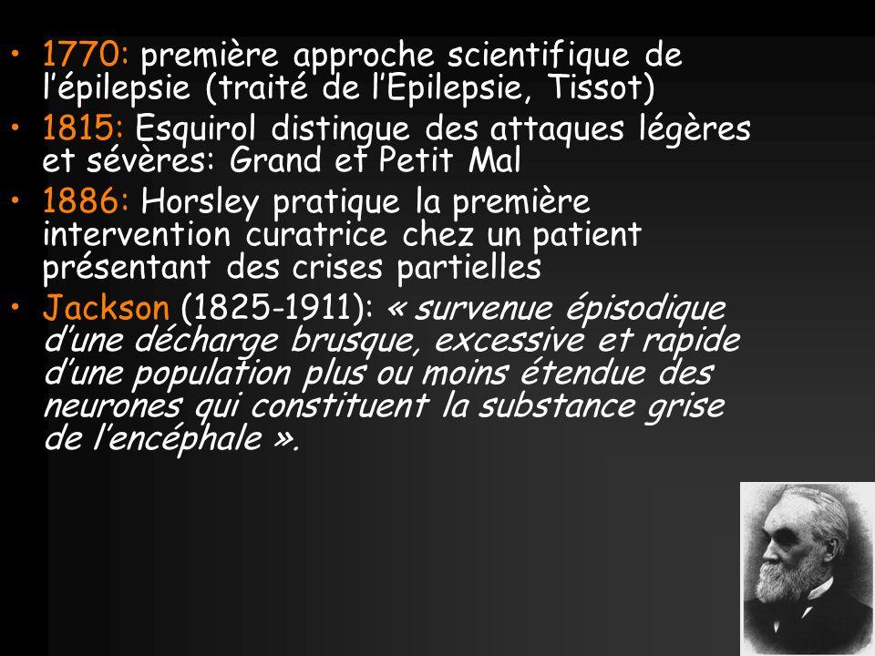1770: première approche scientifique de lépilepsie (traité de lEpilepsie, Tissot) 1815: Esquirol distingue des attaques légères et sévères: Grand et P