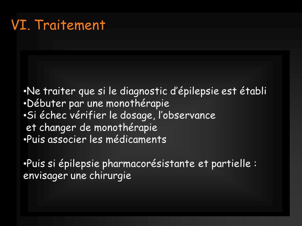 VI. Traitement Ne traiter que si le diagnostic dépilepsie est établi Débuter par une monothérapie Si échec vérifier le dosage, lobservance et changer