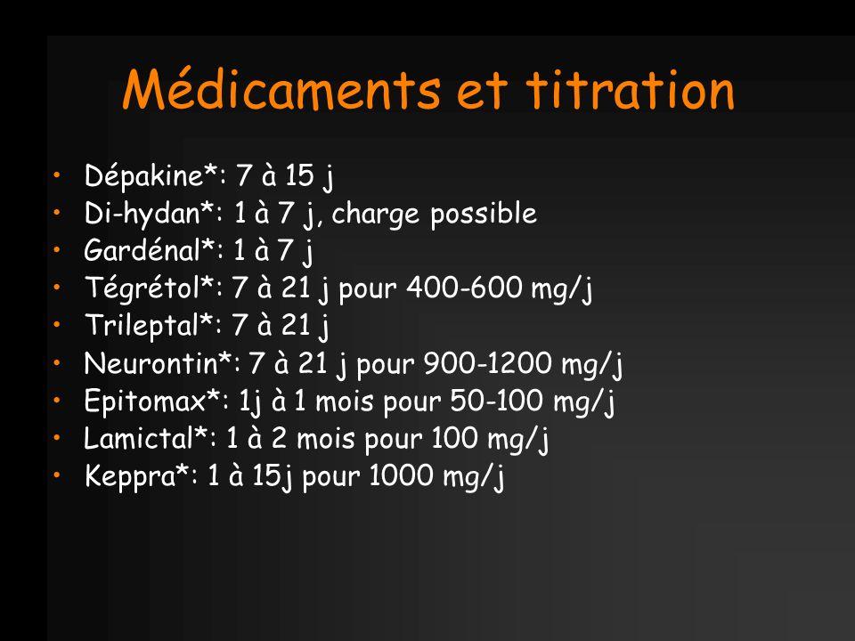 Médicaments et titration Dépakine*: 7 à 15 j Di-hydan*: 1 à 7 j, charge possible Gardénal*: 1 à 7 j Tégrétol*: 7 à 21 j pour 400-600 mg/j Trileptal*: