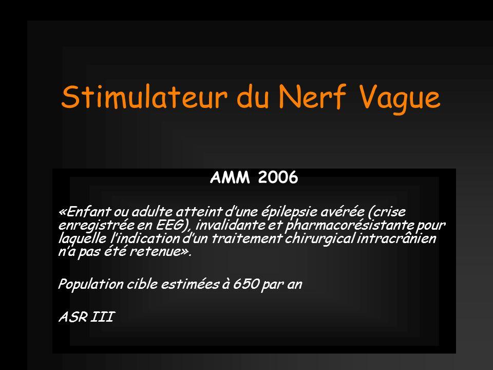 Stimulateur du Nerf Vague AMM 2006 «Enfant ou adulte atteint dune épilepsie avérée (crise enregistrée en EEG), invalidante et pharmacorésistante pour