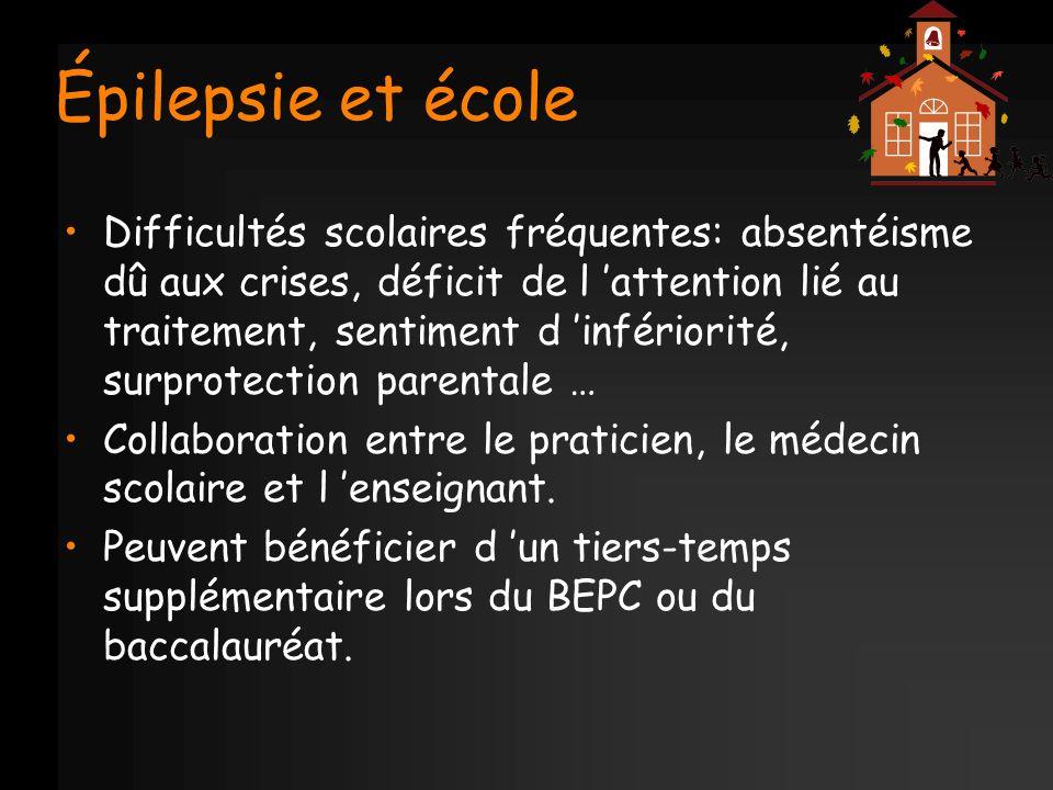 Épilepsie et école Difficultés scolaires fréquentes: absentéisme dû aux crises, déficit de l attention lié au traitement, sentiment d infériorité, sur