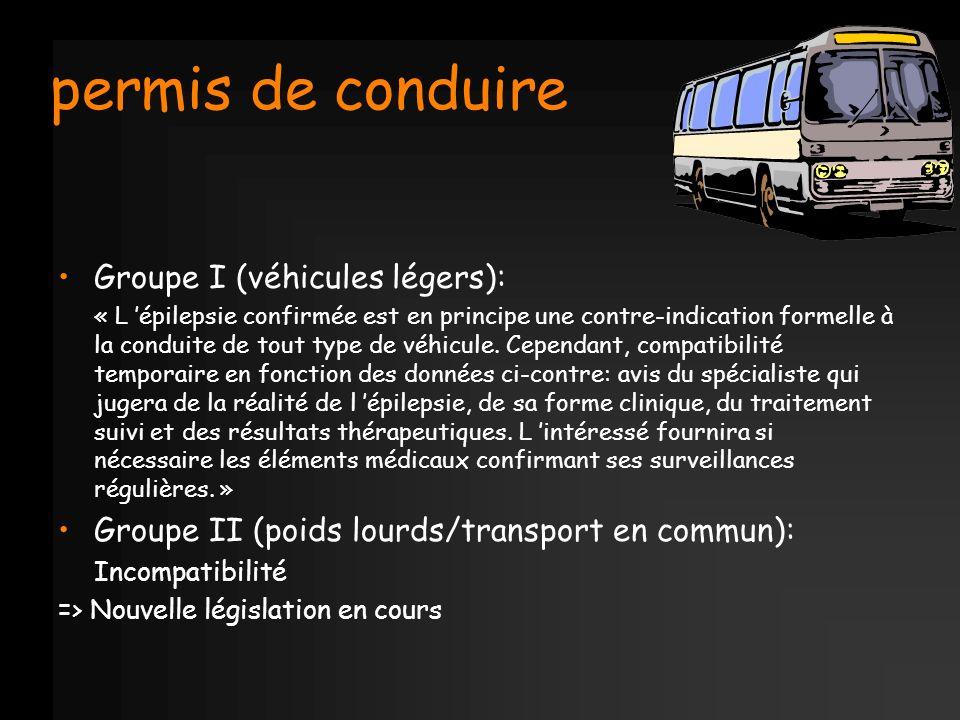permis de conduire Groupe I (véhicules légers): « L épilepsie confirmée est en principe une contre-indication formelle à la conduite de tout type de v