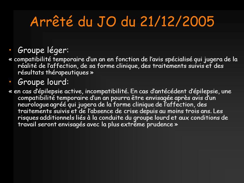 Arrêté du JO du 21/12/2005 Groupe léger: « compatibilité temporaire dun an en fonction de lavis spécialisé qui jugera de la réalité de laffection, de